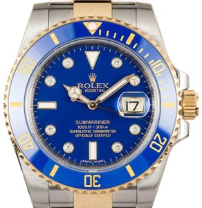 Rolex Men's Blue Two Tone 18K/ Steel Ceramic Submariner Watch