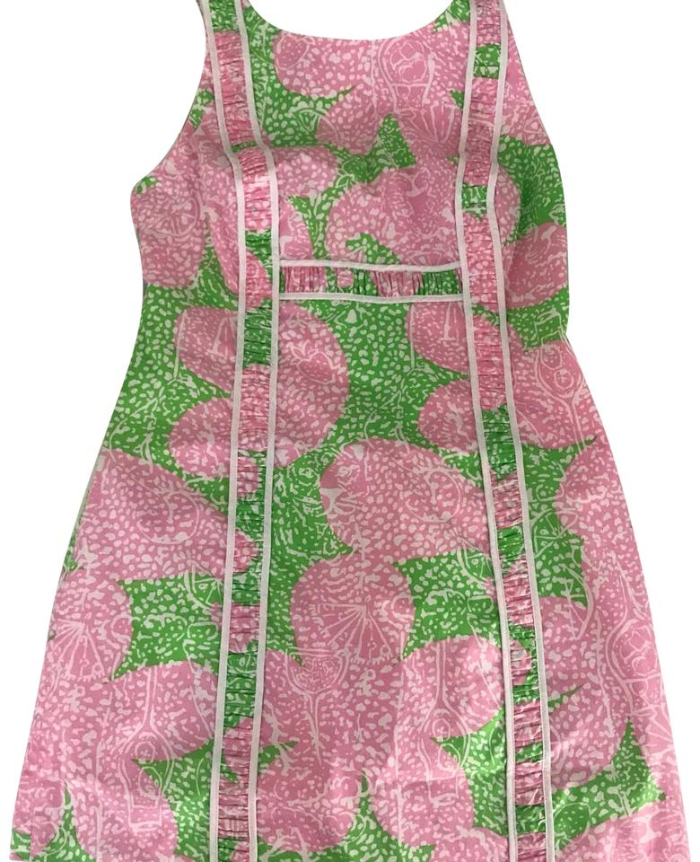 Lilly Pulitzer White Pink Green Print Limeade Fryer Mid Length
