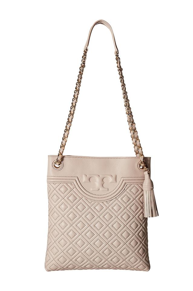d5ed71ca134f Tory Burch Fleming Bedrock Quilted Swingpack Nude Pink Leather Cross ...