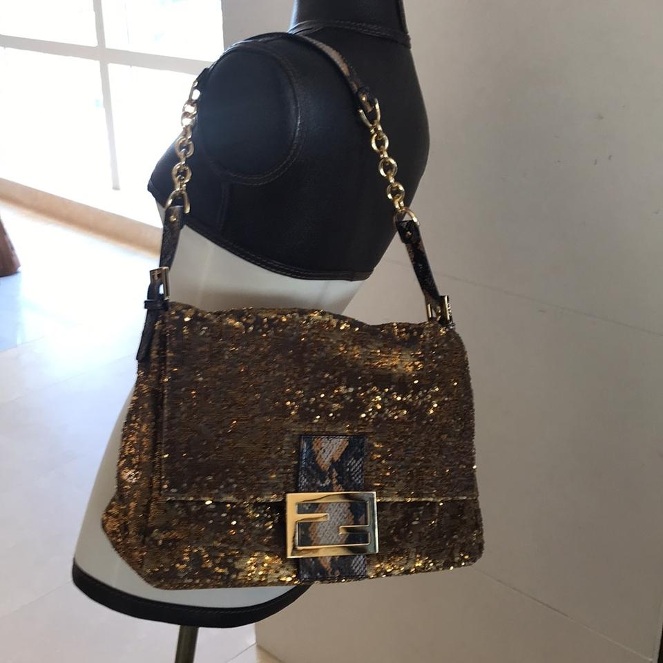 1dfe98ead6 Fendi Large Mamma Forever Baguette Bronze and Gold Water Snake Sequin  Shoulder Bag