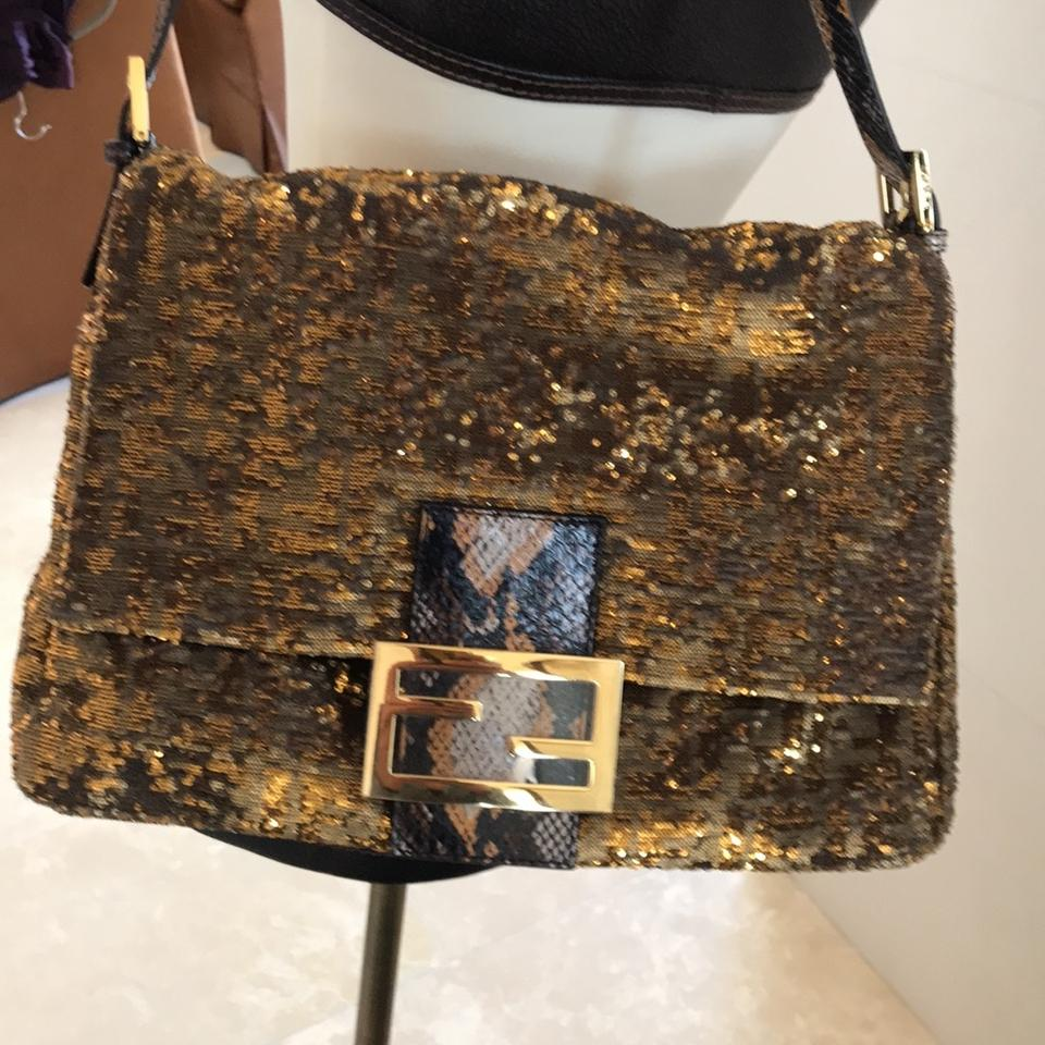 329c9cdf3ee8 Fendi Large Mamma Forever Baguette Bronze and Gold Water Snake Sequin  Shoulder Bag - Tradesy
