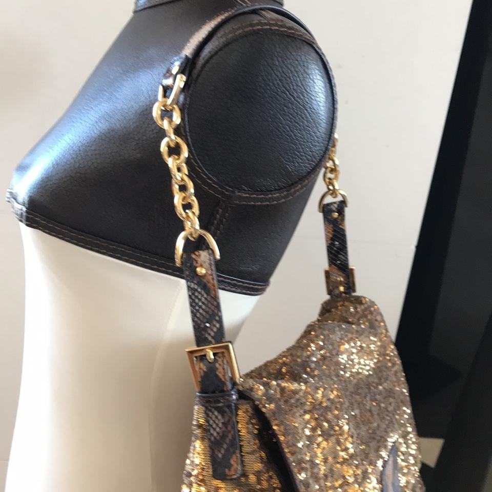 932c898c00 Fendi Large Mamma Forever Baguette Bronze and Gold Water Snake ...