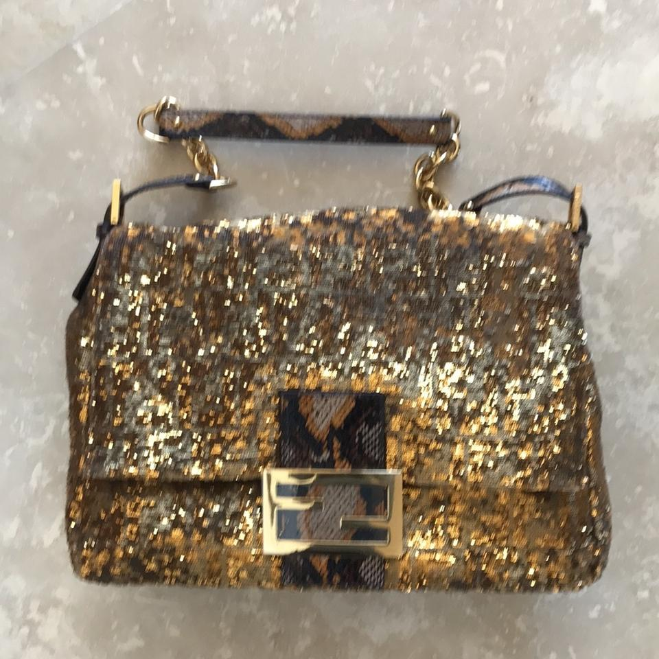 09565d7051 Fendi Large Mamma Forever Baguette Bronze and Gold Water Snake ...