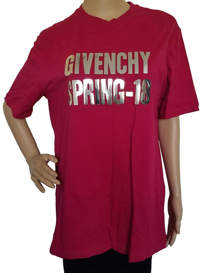 3723a58c Givenchy Red Silver Pink Logo Printed Oversize T-shirt Tee Shirt. Size: 4  ...