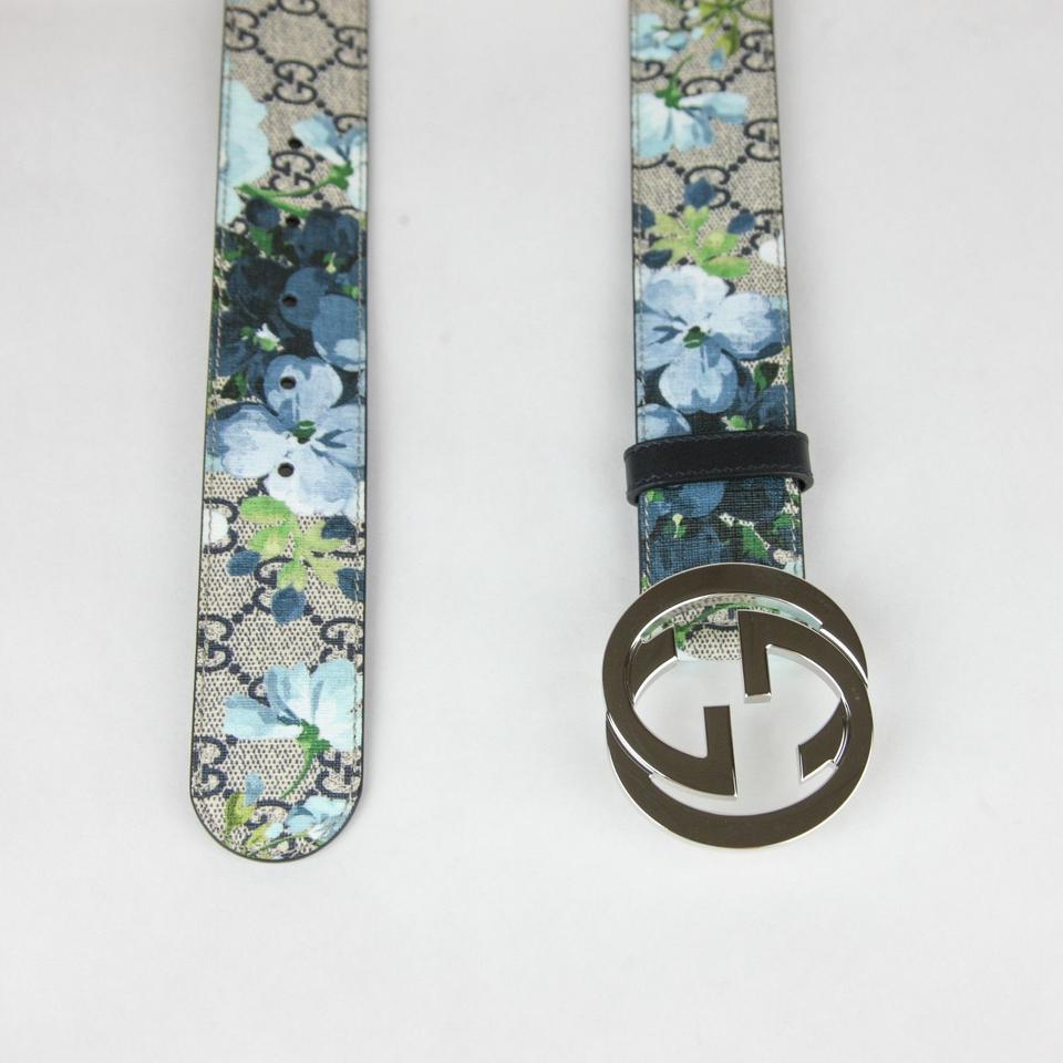 14181969112 Gucci Beige Blue Men s Beige Blue Gg Supreme Bloom Floral Belt 105 42.  123456