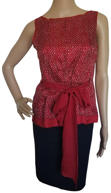 Item - Red White Sleeveless Blouse Size 4 (S)