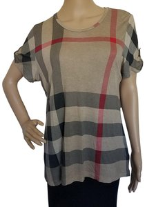 Burberry Cotton Nova Check Plaid Monogram Shortsleeve T Shirt Beige, Brown, Black, Red