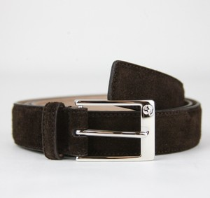 Gucci Brown Suede Leather Belt with Square Silver Buckle 105/42 345658 Cma0n 2140 Groomsman Gift