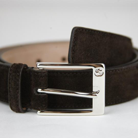 Gucci Brown Suede Leather Belt with Square Silver Buckle 105/42 345658 Cma0n 2140 Groomsman Gift Image 1