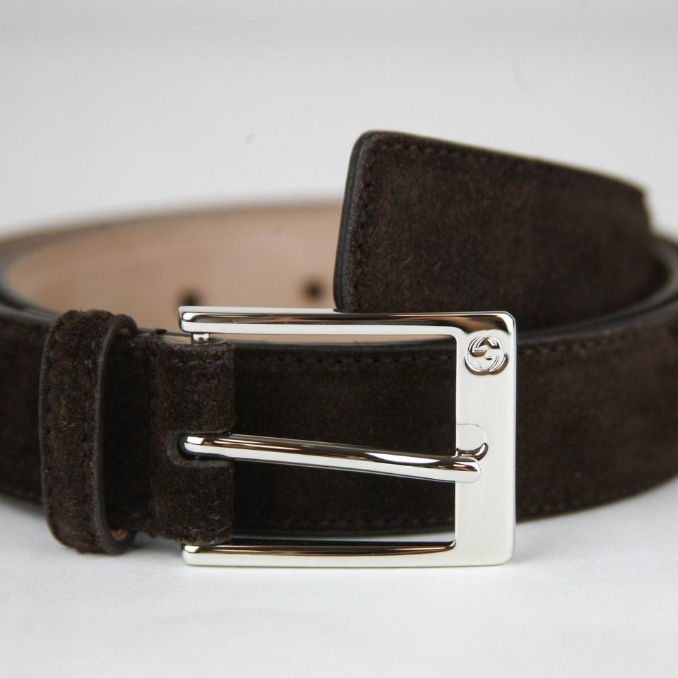1e409c3ac Gucci Brown Suede Leather Belt with Square Silver Buckle 105/42 345658  Cma0n 2140 Groomsman. 123456