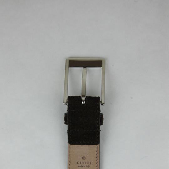 Gucci Brown Suede Leather Belt with Square Silver Buckle 105/42 345658 Cma0n 2140 Groomsman Gift Image 4