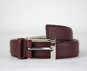 3a010fd63 Gucci Wine Red Leather Belt with Square Silver Buckle 105/42 345658 6148  Groomsman Gift