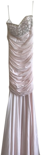 Item - Peach Jersey Ruched Bead Embellished Strapless Gown Long Formal Dress Size 4 (S)