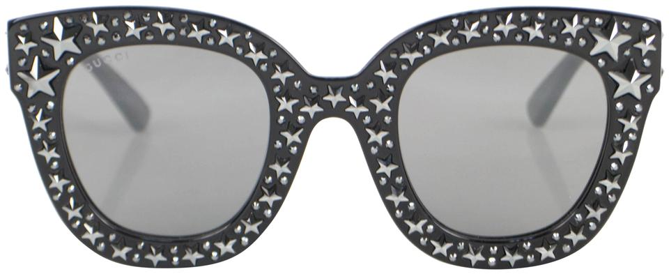 a7c77f432c Gucci Black Gg0116s-002 Cat Eye Frame with Stars Metal Sunglasses ...