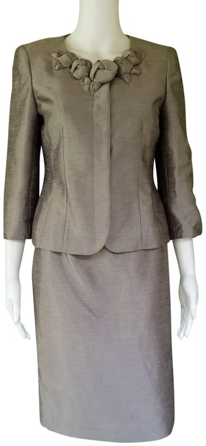 Item - Taupe Shimmer Career 4p Skirt Suit Size Petite 4 (S)