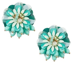 Kate Spade NEW KATE SPADE FLORAL GREEN SUMMER STUD STATEMENT EARRINGS