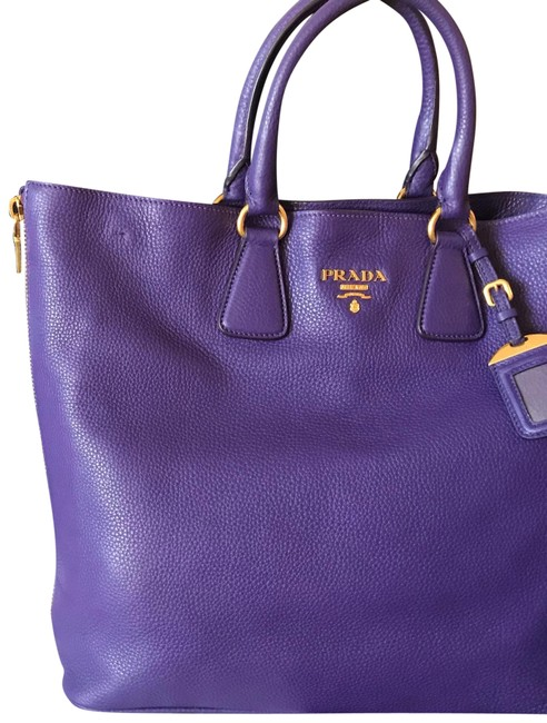 Item - With Long Strap Purple Gold Hardware Leather Tote