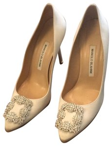 Manolo Blahnik Satin White Pumps