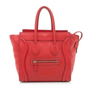 Céline Micro Luggage Tote in Red
