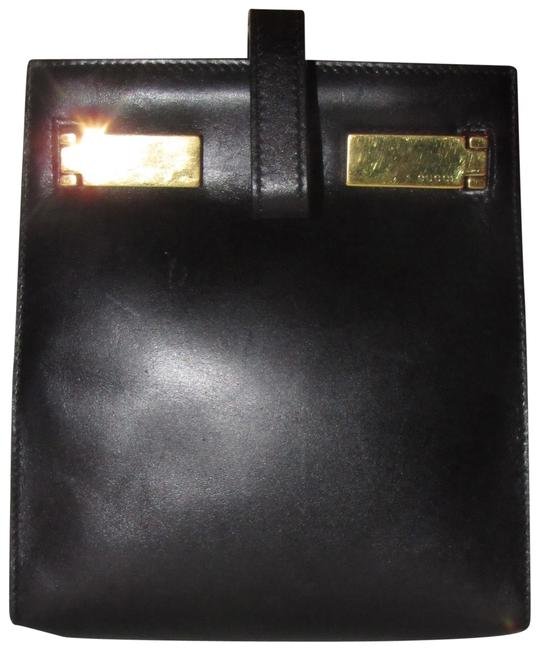 Item - Tom Ford Era Handle Black Leather/Gold Accents Clutch