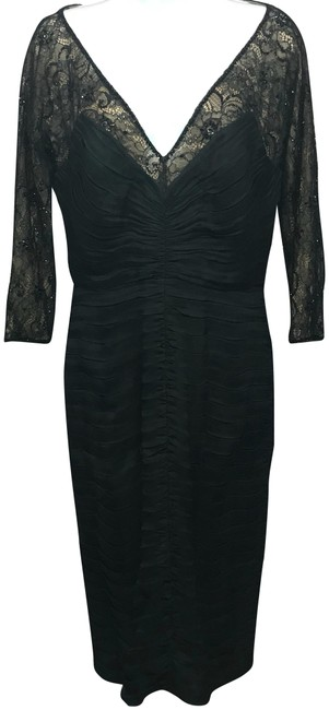 Item - Black Lace Trim Pleated Bodice Short Night Out Dress Size 10 (M)