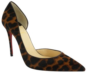 Christian Louboutin Red Bottom Pointed Toe Party Animal Print 8030901-001 Dark Brown Pumps