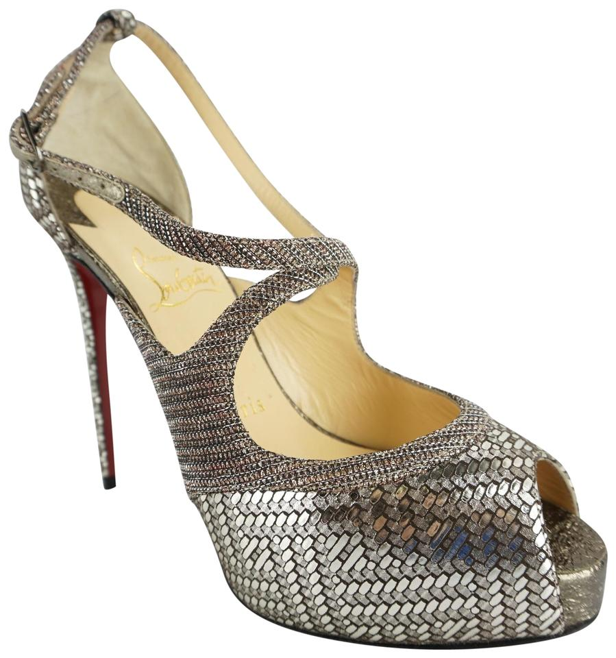 e48aa549d47 Christian Louboutin Red Bottom Formal Party Strappy 8060404 Silver Sandals  Image 0 ...