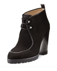 Michael Kors Ankle Lace Ups Wedge Black Boots