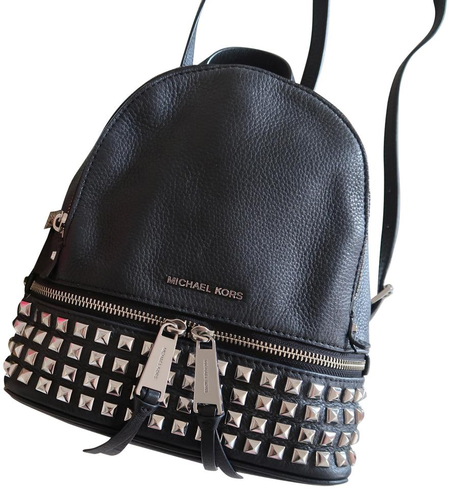 8a1353ae8d9e6 Michael Kors Studded Rhea Extra Small Black Silver Leather Backpack ...
