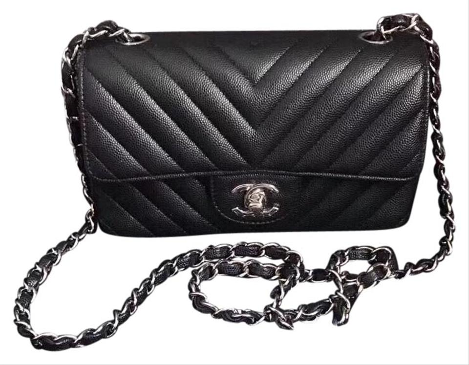 91038cd2423b Chanel Mini Rectangular Flap In Iridescent Chevron Black Caviar ...