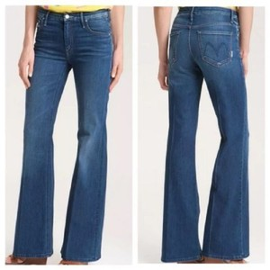Mother Bottoms Retro Stretchy Mid-rise Flare Leg Jeans-Medium Wash