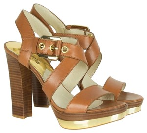 Michael Kors Mk Calder Heels Sandals Open Toe Strap Strappy Ankle Strap X Strap Luggage Leather Gold Sexy Modern Cool Edgy Chic Brown Platforms