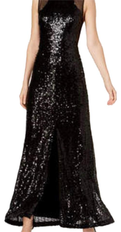 Calvin Klein Black Sequins Long Night Out Dress Size 10 M Tradesy