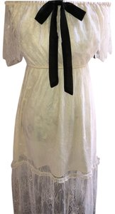 White lace with Black accents Maxi Dress by Free Press