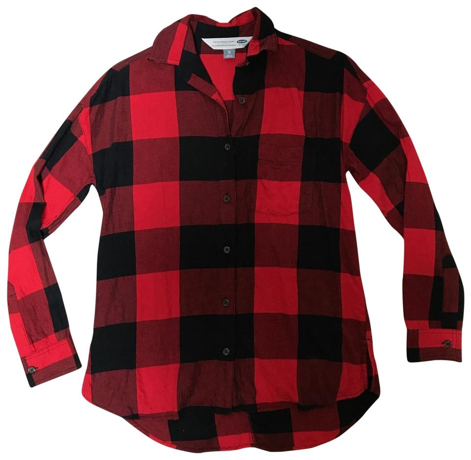 0f17120910917 Old Navy Red Black Plaid The Boyfriend Shirt Button-down Top Size 2 ...
