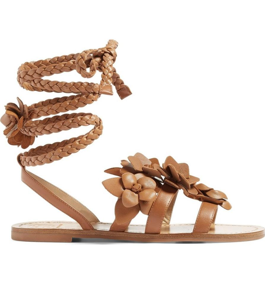 14c665544 Tory Burch Gladiator Leather Tan Festival Brown Sandals Image 10.  1234567891011