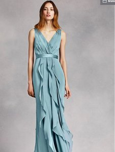 White by Vera Wang Mist Satin and Silk V-neck Wrapped Bodice Belt Formal Bridesmaid/Mob Dress Size 2 (XS)