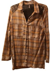 Free People Button Down Shirt Yellow Gold