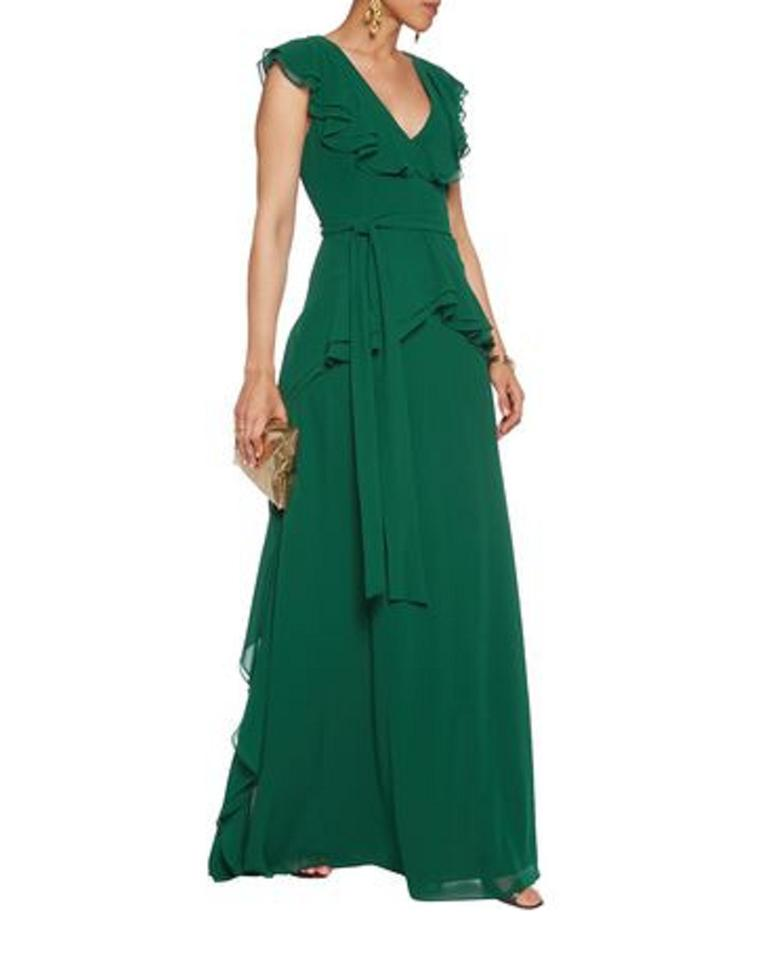 Badgley Mischka Green Bow-detailed Ruffled Crepe Gown Long Formal ...