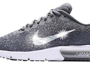 Nike Bling Running Swarovski Glitter Kicks Wolf Gray Athletic