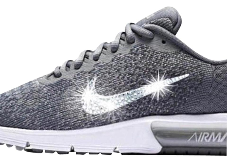 cae31d297099 Nike Wolf Gray Sequent 4 Logo s Covered with Swarovski Crystals Sneakers