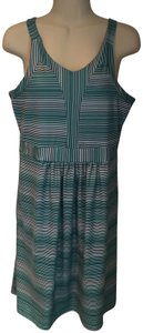 TEHAMA short dress blue, green, white Knit Sundress Sleeveless Striped on Tradesy