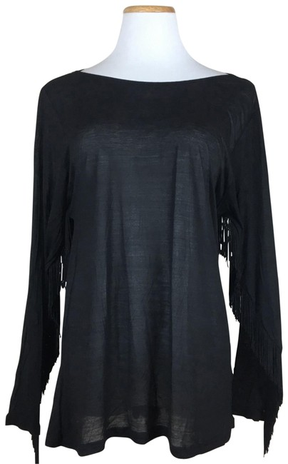 Preload https://img-static.tradesy.com/item/23468220/ark-and-co-black-fringed-sleeves-long-sleeve-shirt-blouse-size-6-s-0-1-650-650.jpg