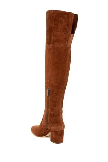 Via Spiga Suede Leather Brown Over The Knee Chestnut Boots Image 4