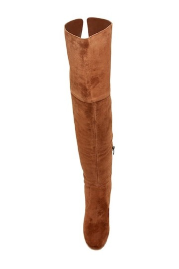 Via Spiga Suede Leather Brown Over The Knee Chestnut Boots Image 5