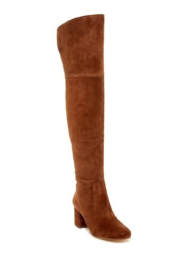 Via Spiga Suede Leather Brown Over The Knee Chestnut Boots Image 6