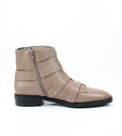 Topshop Studded Buckles Ankle Nude Boots Image 4