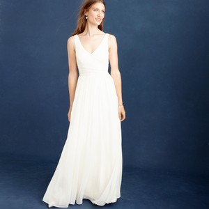 J.Crew Ivory Silk Chiffon Heidi Feminine Wedding Dress Size 4 (S)