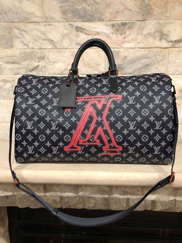 3944a123fcca Louis Vuitton Duffle Keepall Bandouliere 50 Upside Down Reverse Lv Ink Blue  Canvas Weekend Travel Bag - Tradesy