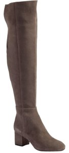 Halogen Suede Leather Over The Knee Grey Boots